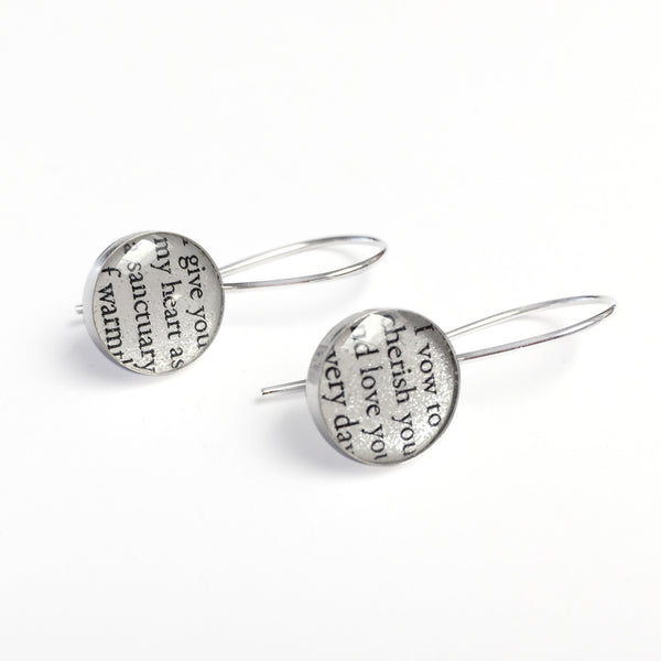 Custom Earrings with Vows or Song