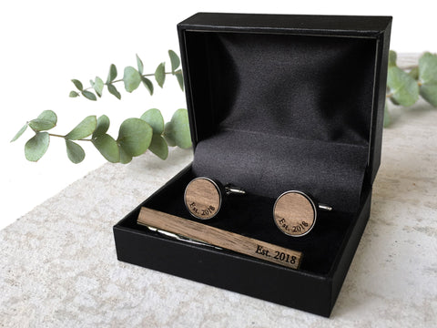 Walnut Cufflinks & Tie Clip Gift Set