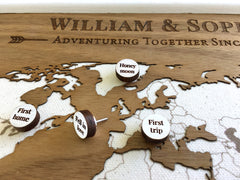 Adventuring Together- Wood Map with Custom Pins