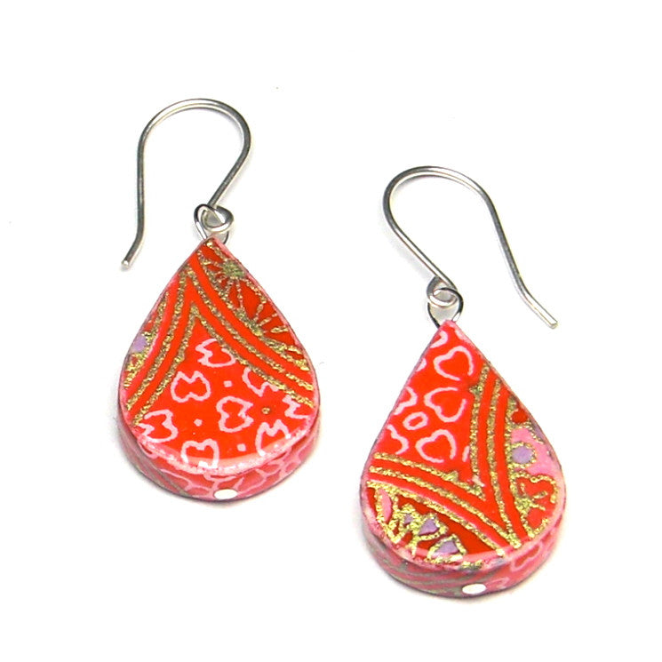 Cherry Paper Earrings