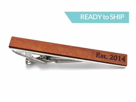 """Established 2014"" Leather Tie Bar"