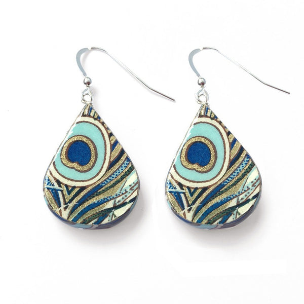 Peacock paper earrings first wedding anniversary present