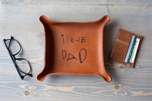 """DAD"" Leather Tray"