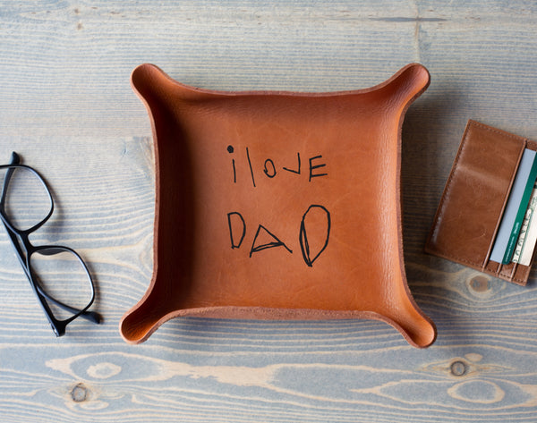 Leather Tray with Kids Handwriting