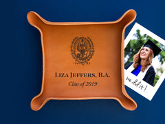 personalized leather tray with college seal