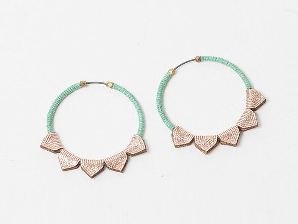 Turquoise Laser-Cut Leather Earrings