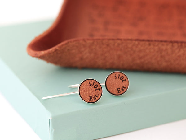 leather anniversary earrings