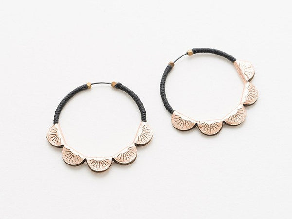 Black & Copper Laser-Cut Leather Earrings