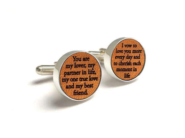 Leather anniversary cufflinks with vows