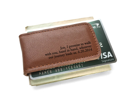 Leather Money Clip with Vows or Song
