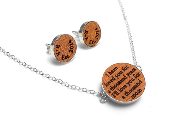 Leather Anniversary Gift Idea - Jewelry with Vows Or Song