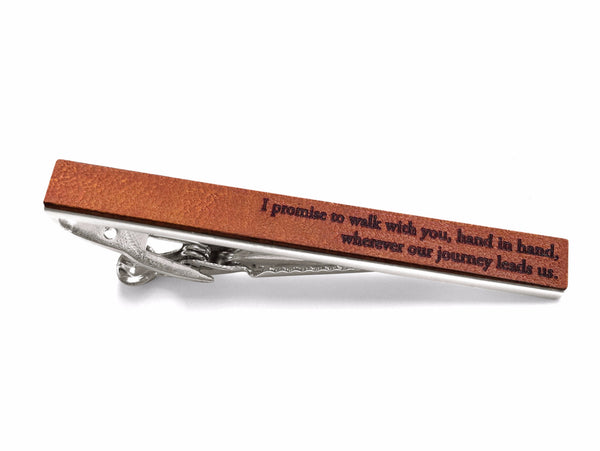leather tie bar with vows 3rd anniversary