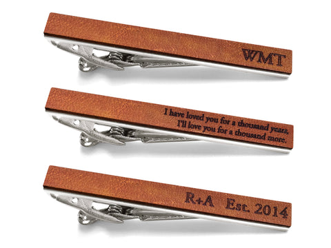 Personalized Leather Tie Bar