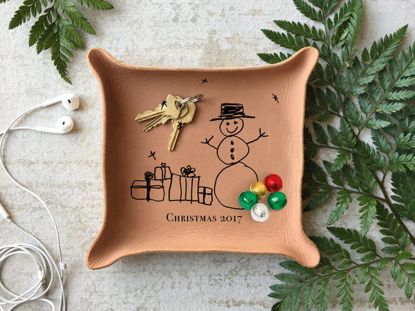 Leather christmas tray with kids drawing