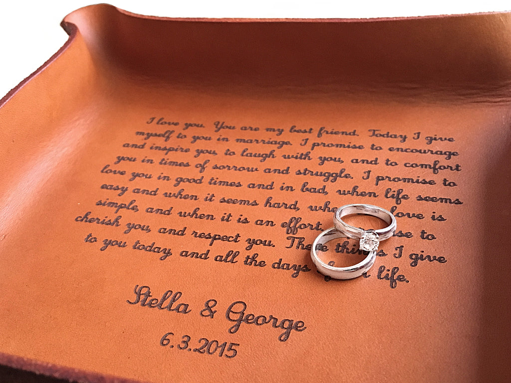 Leather Tray with Vows or Song