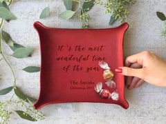 personalized Christmas leather catchall tray with quote