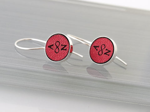 Personalized Red Leather Earrings