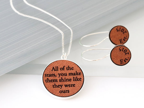 personalized leather jewelry set