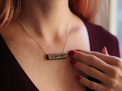 personalized wood handwriting necklace