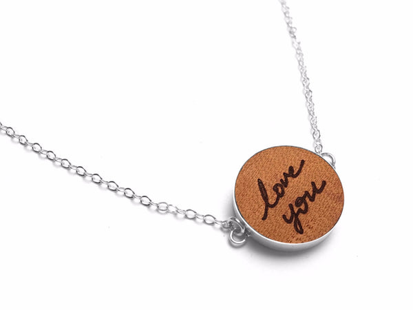 Third Anniversary Gifts For Her - Leather Handwriting Necklace