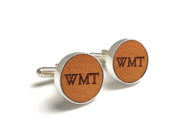 3 Year Anniversary Gifts For Him - Monogrammed Leather Cufflinks