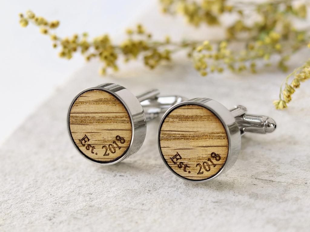 Whiskey Wood Cufflinks with Initials & Date