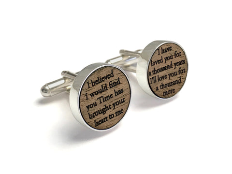Wood Cufflinks Engraved with Wedding Song