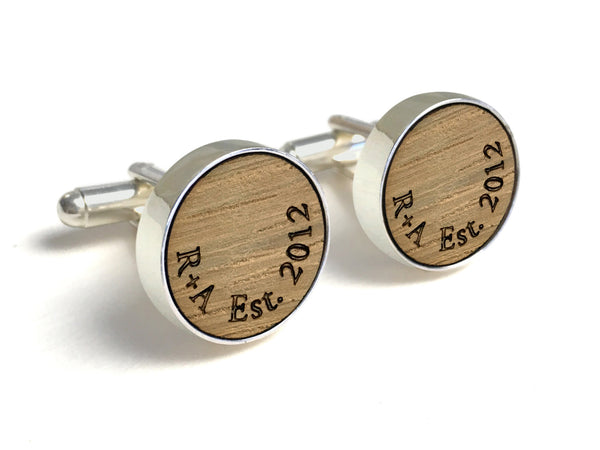 Wood Anniversary Gifts For Him - Whiskey Wood Cufflinks With Initials & Date