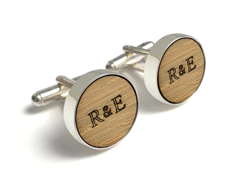 Whiskey Barrel Cufflinks with Initials