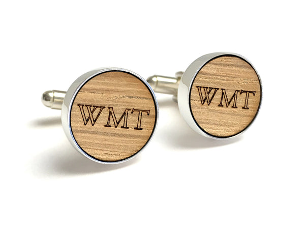 Wood Anniversary Gifts For Him - Monogrammed Whiskey Wood Cufflinks