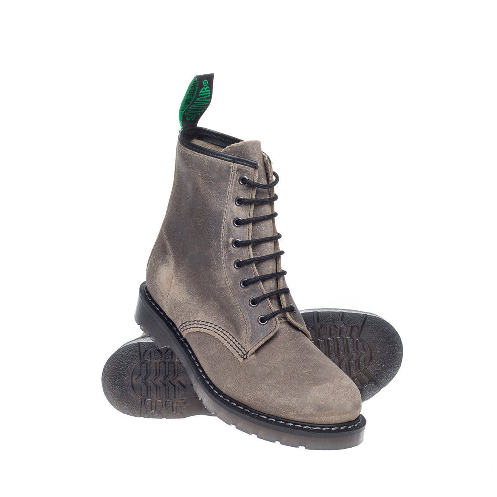 Stone Grey Waxy 8 Eye Derby Boot