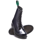 Navy Hi-Shine 11 Eye Derby Boot