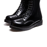 Black Hi-Shine 20 Eye Zip Derby Boot