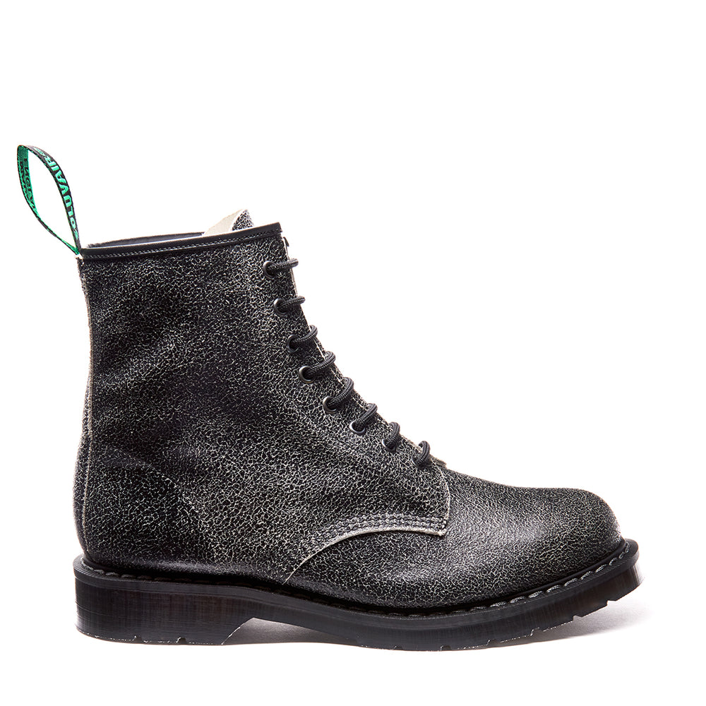 Black Distressed 8 Eye Derby Boot