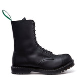 Black Greasy 11 Eye Steel Toe Derby Boot