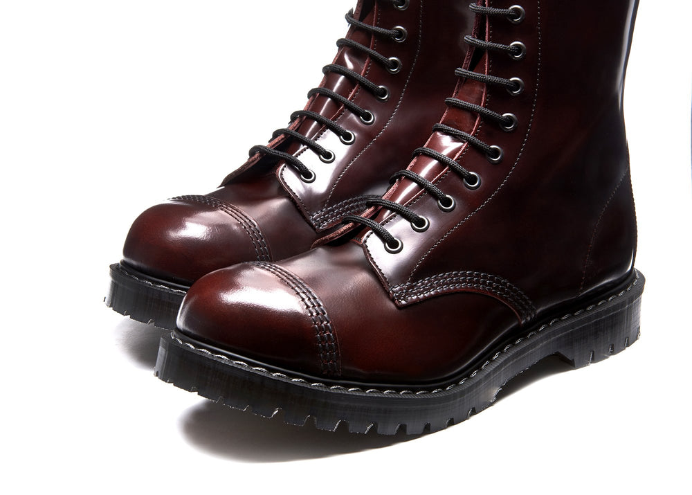Burgundy Rub-Off 11 Eye Steel Toe Derby Boot