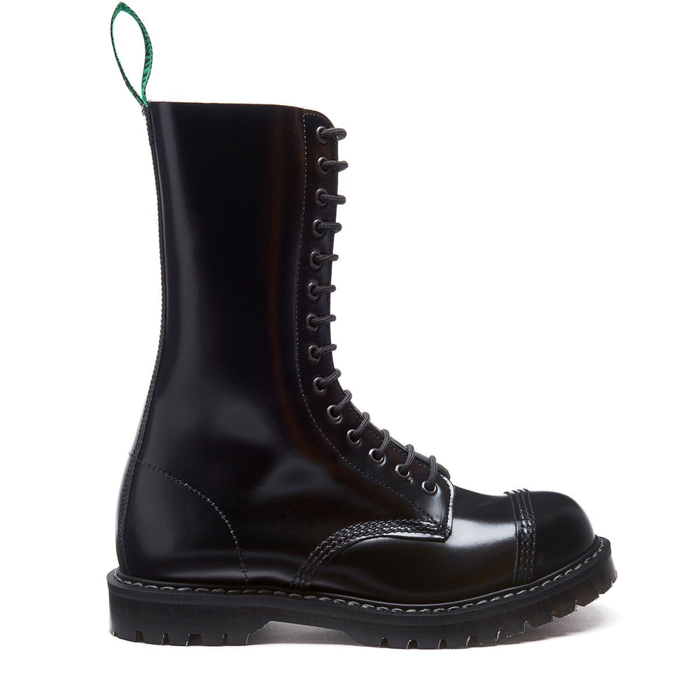 Black Hi-Shine 14 Eye Steel Toe Derby Boot