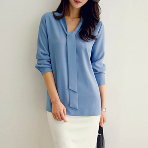 Tie Collar Simple Business Style Shirt Long Sleeve Chiffon Microfiber Blouse