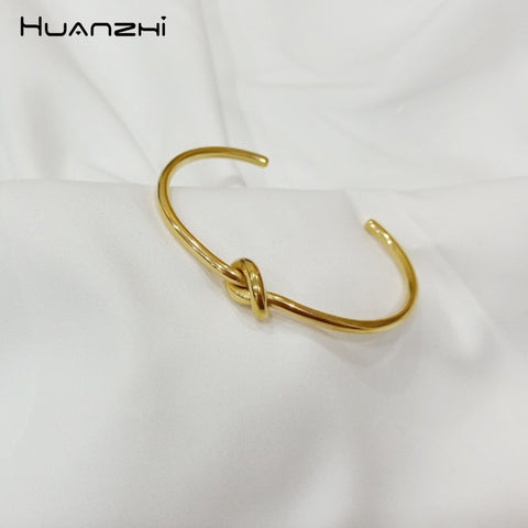 Rose Gold Metal Copper Plated Knot Twisted Bracelets Bangle