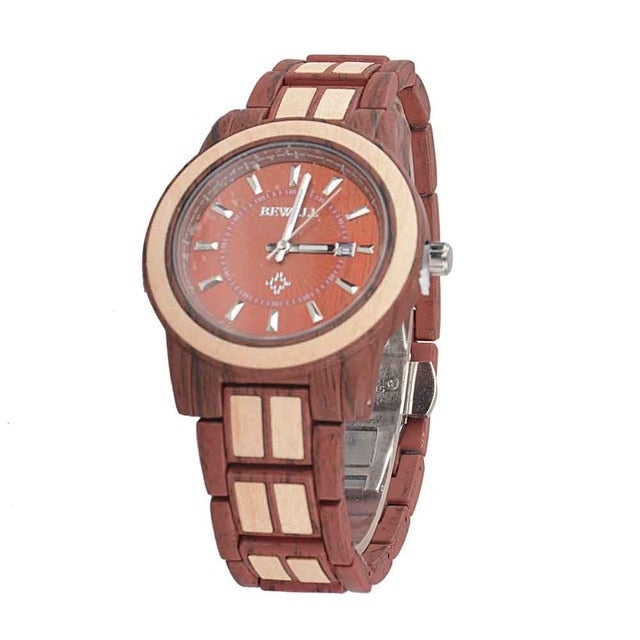 Alloy Luxury Brand Round Water Resistance Auto Date Wood Watches