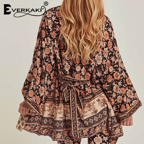 Floral Print With Sashes Short Boho Bohemian Kimonos