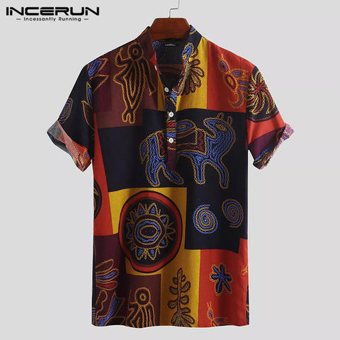Vintage Ethnic Style Printing Loose Cotton Short Sleeve Shirts