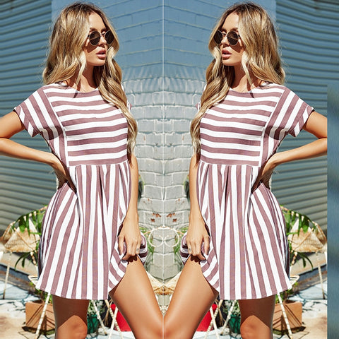 A Line Striped Short Sleeve O Neck Print Casual Dresses