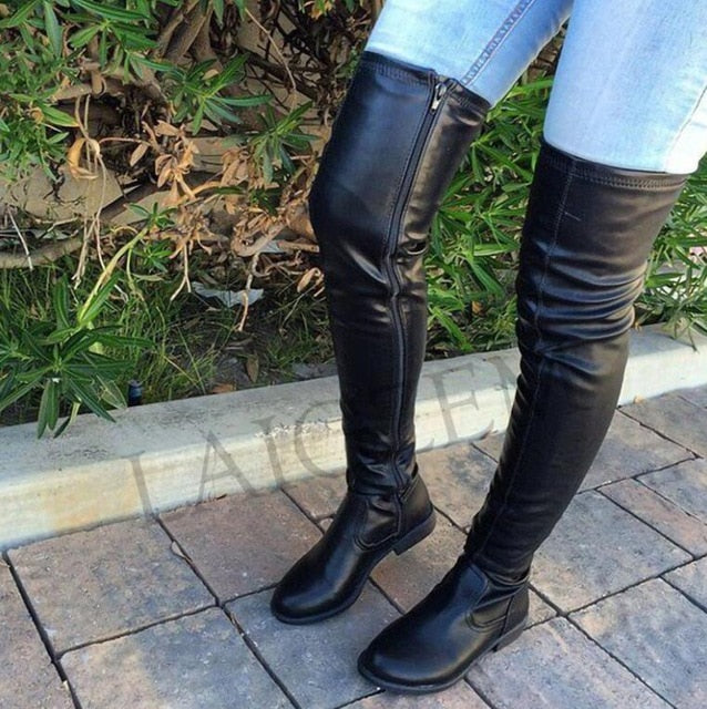 Over Knee Thigh High Side Zip Low Chunky Heels Faux Leather Boots