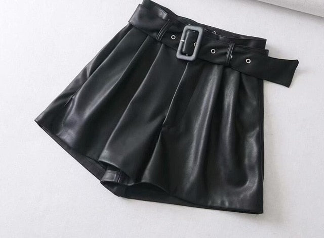 Black Orange Color PU Leather High Waist with Belt Wide Leg Faux Leather Shorts