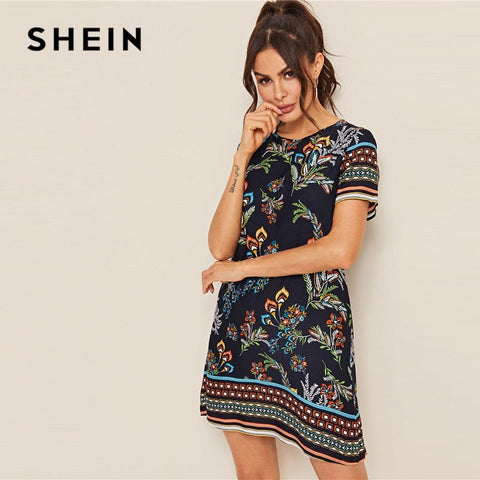 Mixed Print Keyhole Back Tunic Short Sleeve Round Neck Boho Bohemian Dress