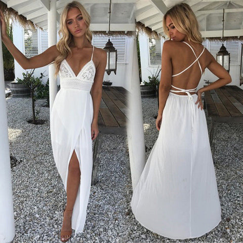 Sexy Floral Solid V neckline Deep Waist High Ankle Length White Dress