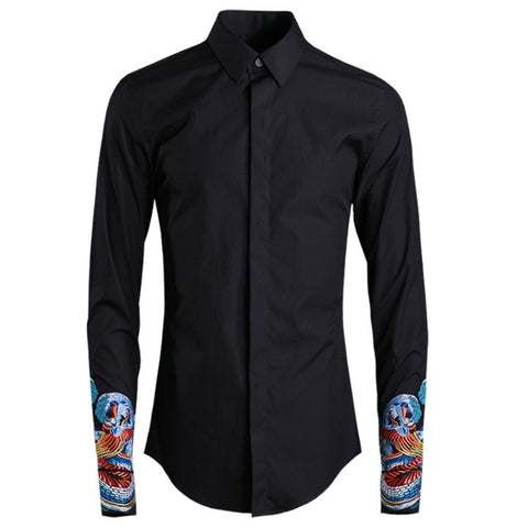 Vintage Classic Long Sleeve Embroidery Slim Casual Dress Shirts