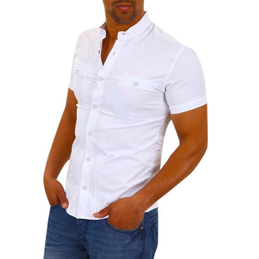 New White Shirt Men Streetwear Casual Shirts Camisa Social Masculina Summer Short Sleeve Solid Slim Fit Camisa Hombre Clothing
