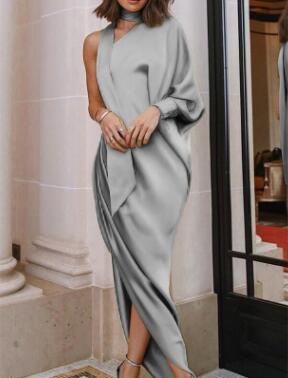 Sexy One Shoulder Long Lantern Sleeve Belted Maxi Wrap Dress